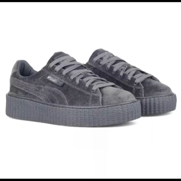 detailed look 35c50 dc81c Rihanna Fenty X Puma Creepers Gray Velvet Womens